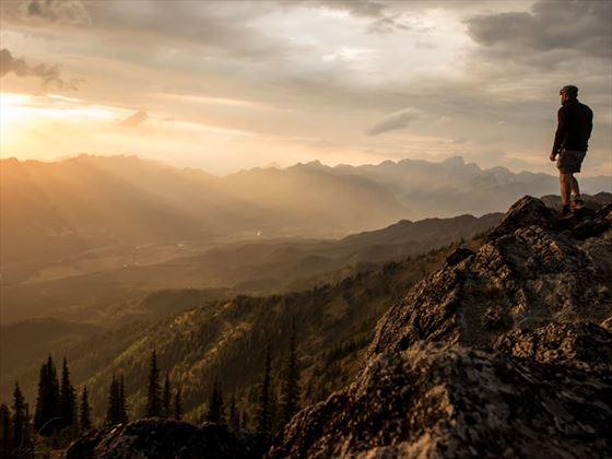 Hiker on Morrissey Ridge in the Kootenay Rockies