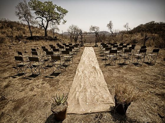 Wedding ceremony in the bush on a hilltop