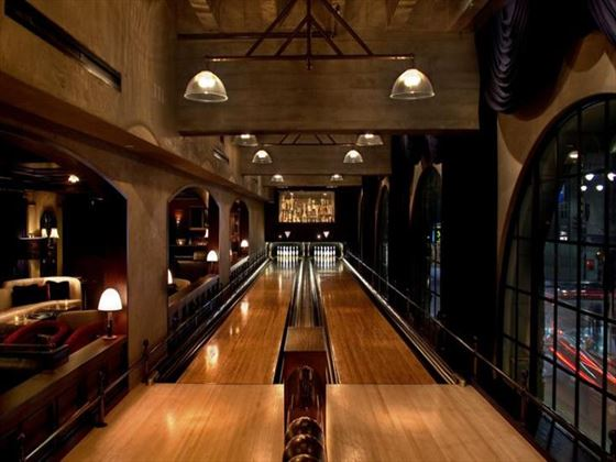Hollywood Roosevelt vintage bowling alley