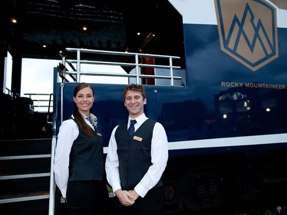 Hosts welcoming you aboard the Rocky Mountaineer