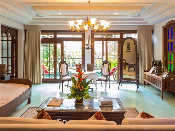 Walter Spies Pavilion living room at Hotel Tugu Bali, Canggu Beach