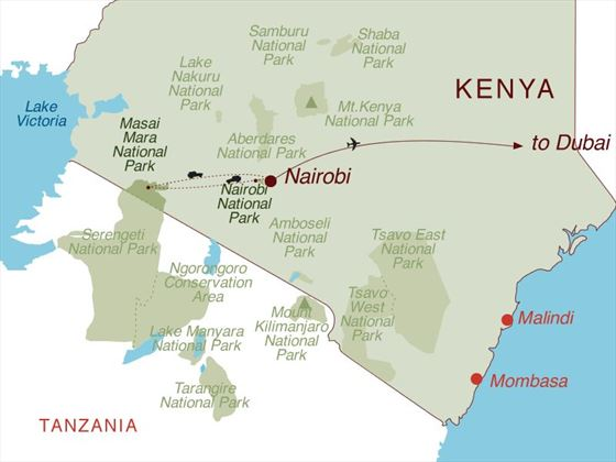 Kenya Safari & Dubai Beach Map