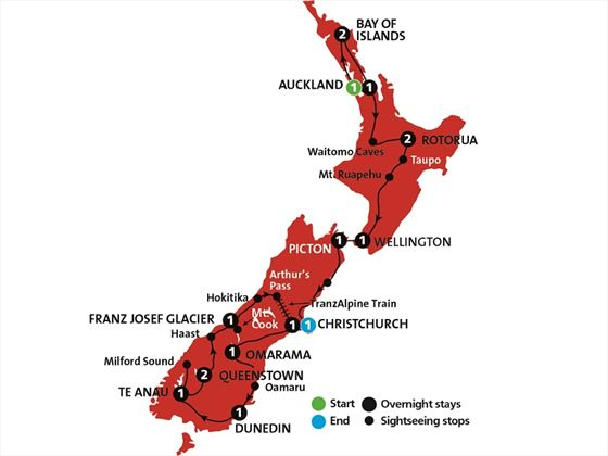 Kia Ora New Zealand tour map