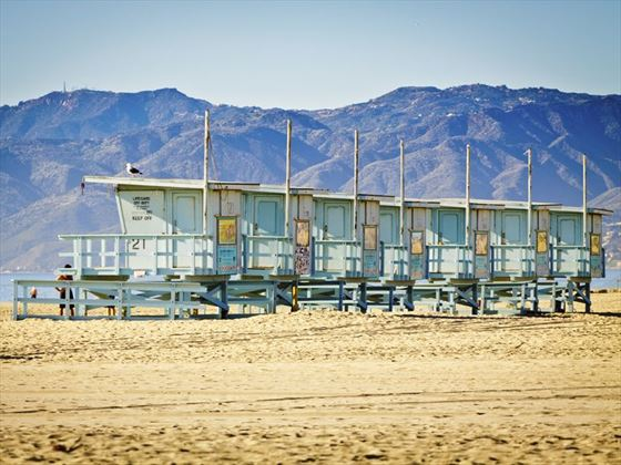 Lifeguard watchtowers on nearby Venice Beach