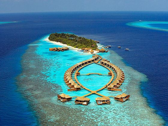 Lily Beach Resort & Spa aerial view of Huvahendhoo Island