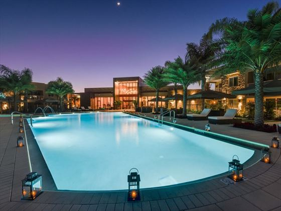 Magic Village Resort pool at night
