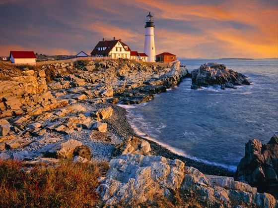 Maine Coastline and Lighthouse Sunset