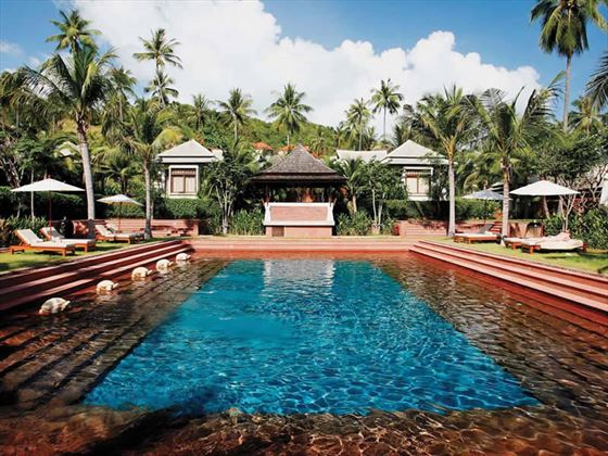 Melati Beach Resort pool and gardens