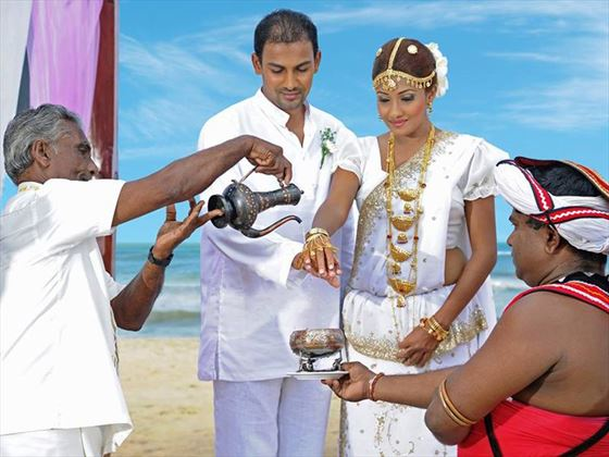 One of the many Sri Lankan wedding customs