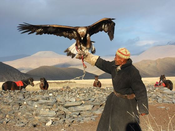 Mongolian man with Golden Eagle