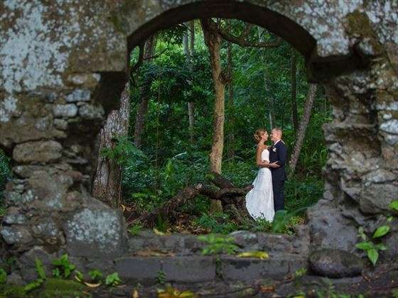 Secluded wedding away from the beach is another option