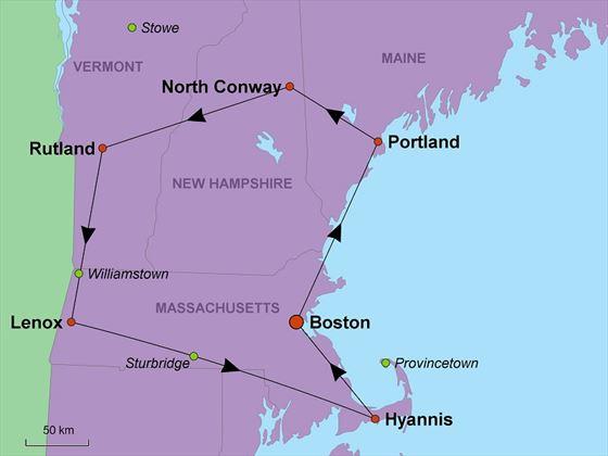 New England Back Roads map