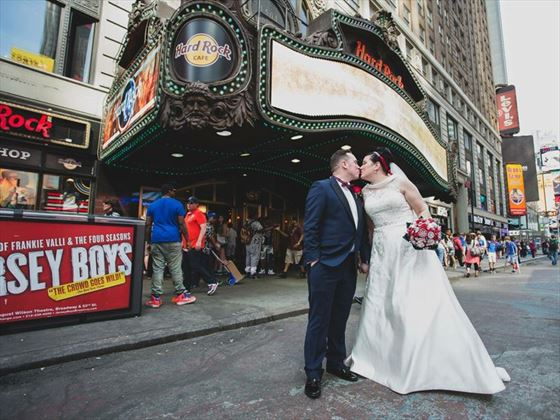 Bride & Groom outside the famous Hard Rock Cafe, Times Square