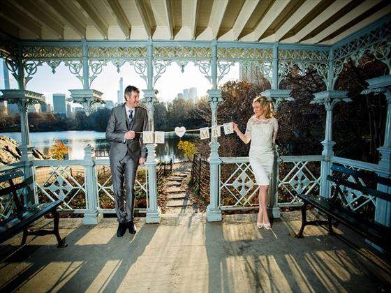 Wedding couple at Ladies Pavilion, Central Park
