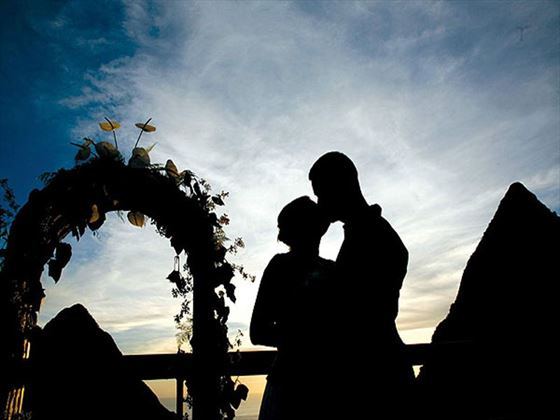 Silhouette of the happy couple