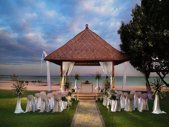 Beautiful garden wedding setting at the Nusa Dua Beach Hotel