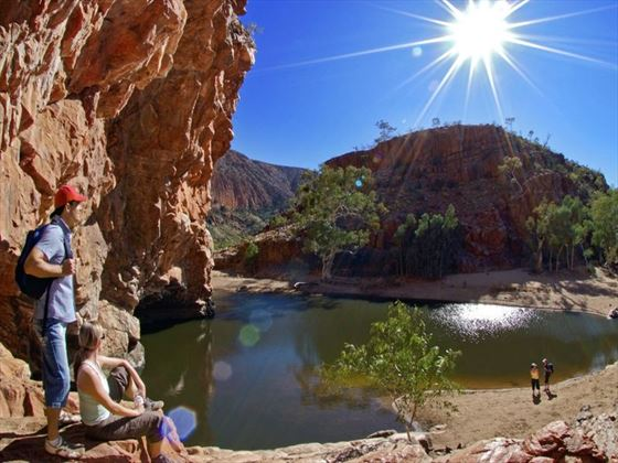Hiking through Ormiston Gorge
