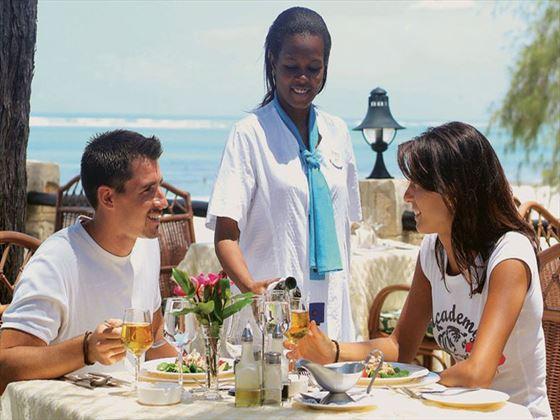 Outdoor dining at Baobab Beach Resort