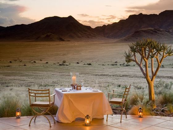 Outdoor dining at Sossusvlei Desert Lodge