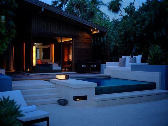 Park Hyatt Hadahaa Resort Pool Villa exterior at night