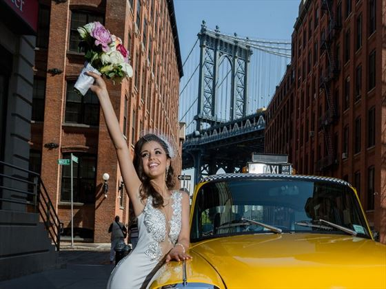 Manhattan Bridge and bride