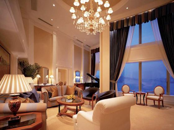 Penthouse Suite living room at Harbour Grand Kowloon