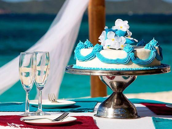 Champagne toast & wedding cake