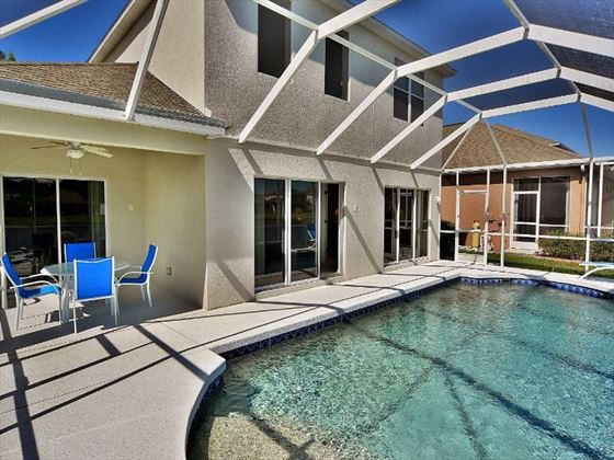 Poolside seating at Sarasota Bradenton Area Pool Homes