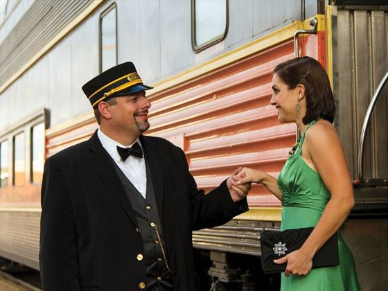 Pullman train staff and guests
