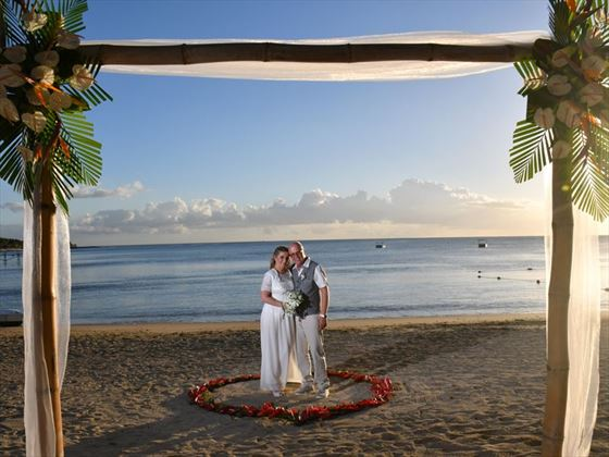 Beach wedding couple at The Ravenala