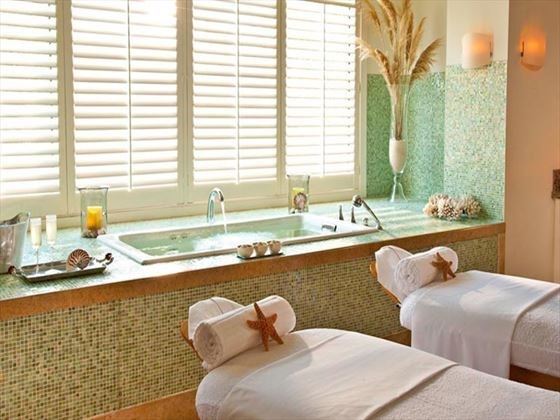 Redlane Spa couples treatment room at Sandals Emerald Bay