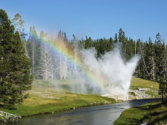 Riverside geyser rainbow at Yellowstone National Park