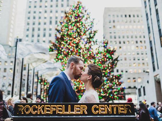 Bride & Groom at Rockefeller Center Christmas tree