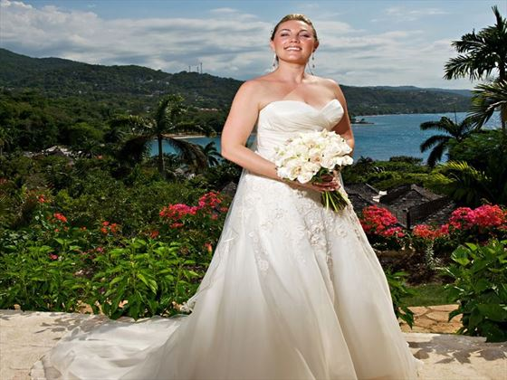 Bride and her beautiful backdrop