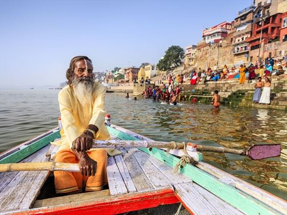 Rowing along the Ganges next to Varanasi