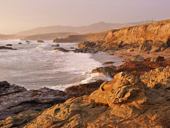 San Simeon coast at sunset