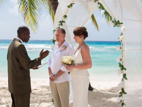Exchanging vows at Sugar Bay