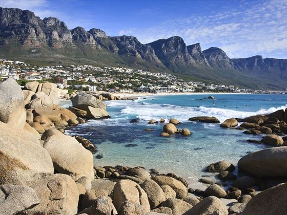 Scenic view over Camps Bay and the Twelve Apostles mountains in Cape Town