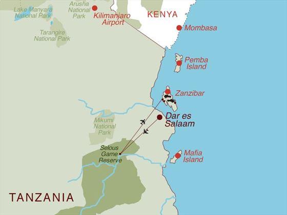 Selous Safari & Zanzibar Map