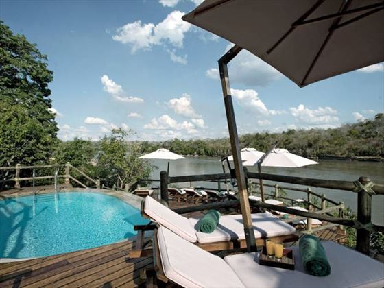 Pool deck at Serena Mivumo River Lodge