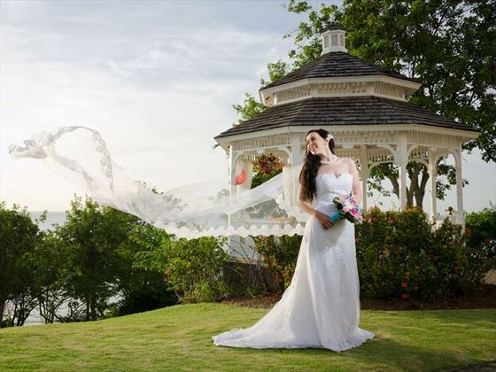 Bride and her wedding gazebo, St James's Club Morgan Bay