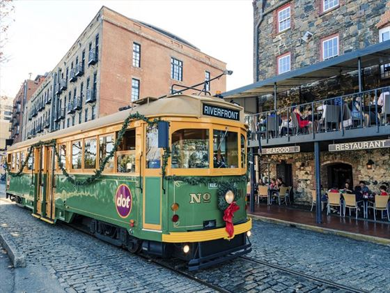 Streetcar in the historic district of Savannah