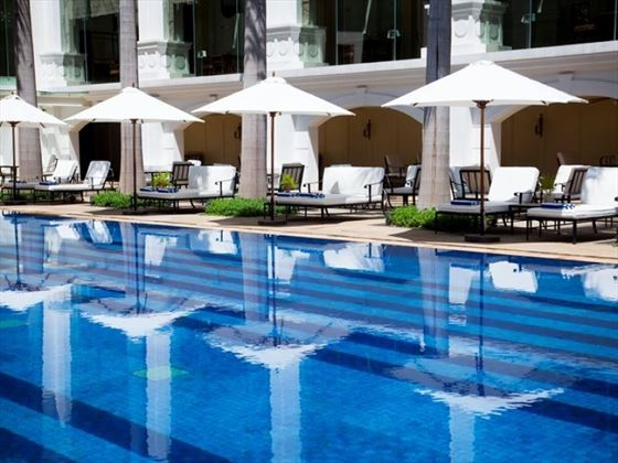 Sun Loungers by the Pool at Indochine Palace