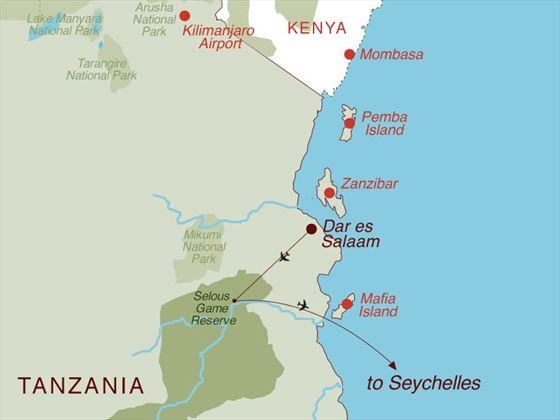Tanzania Safari & Seychelles Map