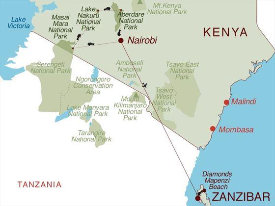 Taste of Kenya & Zanzibar Map