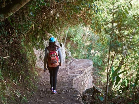 Teenager trekking Inca Trail
