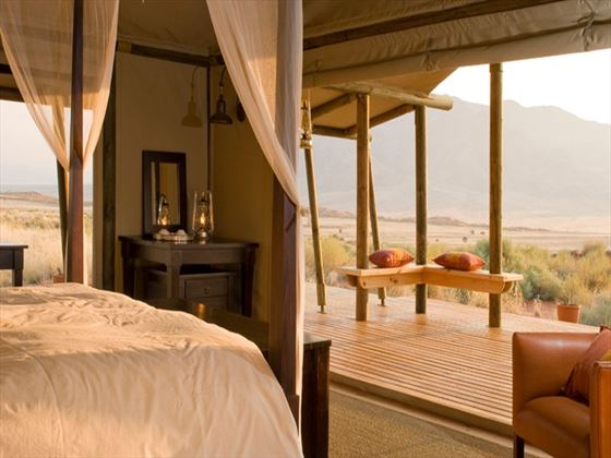 Bedroom and views at Wolwedans Dune Camp