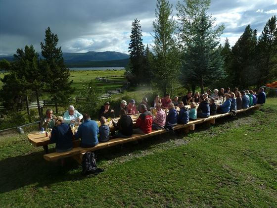 Terra Nostra Ranch, dining outside