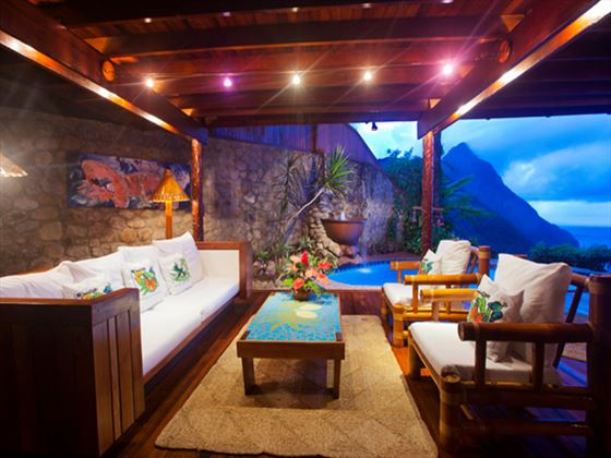 Terrace seating area at Ladera Resort
