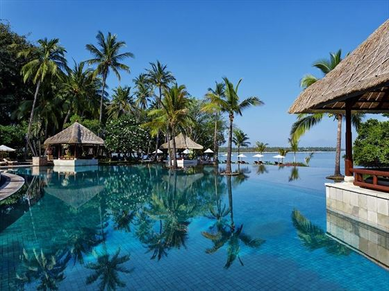 The pool at The Oberoi Beach Resort Lombok